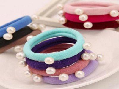 韓版多樣式時尚珍珠毛巾圈髮飾(1入)